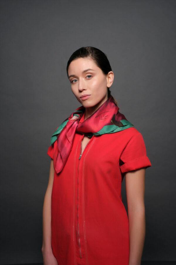 Ultra feminine red silk scarf Tita Hellas