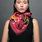 Women's Fashion Floral Red Scarves- Explore New Arrivals for her, Blossoms colorful silk foulards- titahellas Buy it!