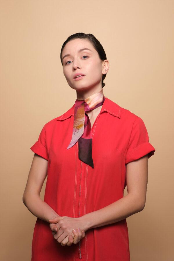 Handmade Silk choker designed by the artist Tita Bonatsou.