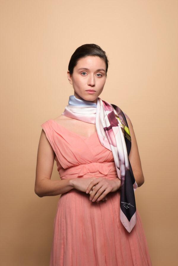 TitaHELLAS silk luxurious Women floral scarf