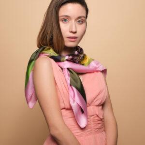 100% Μεταξωτο Tita Hellas Γυναικείο Πράσινο & Ροζ μαντήλι, Λουλουδάτο απαλό