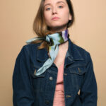 A chic combination of purple, green and light blue creates this awsome silk scarf. GIFT for Women day! Buy it!
