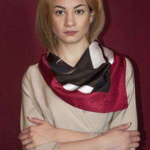 Window red scarf-silk colorful unisex scarf by Luxury Brand Tita Hella