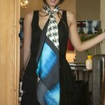 geometrical pattern silk scarf