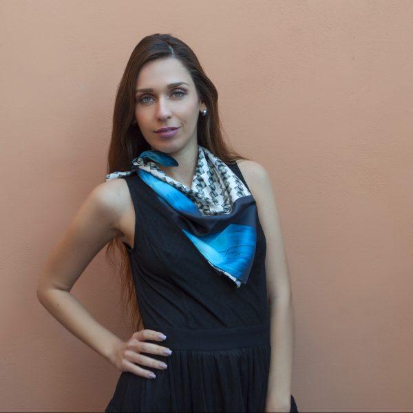 100% Organic silk foulard unisex 70