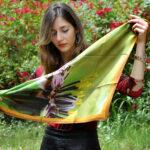 Chryssalis Fine crep de scene foulard. women floral green scarf