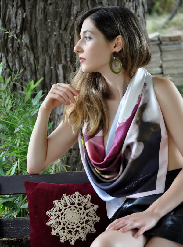 Efthalia , A white rose printed on a silk twill scarf by Titahellas.com