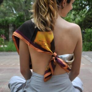 Women Floral Red Scarf Efrosyni. Wonderful silk foulard 90cm. by Tita Hellas,Luxury greek brand.Buy it now.