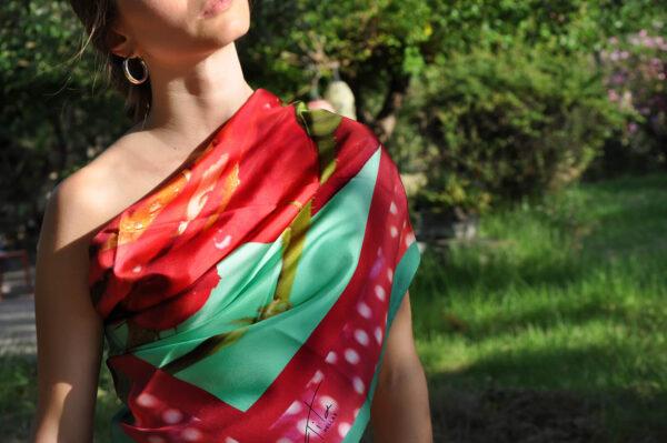 Ultra Feminine Red Rose Sensual Scarf for lovers.made 100% pure organic silk.Tita HellasThe perfect women gift