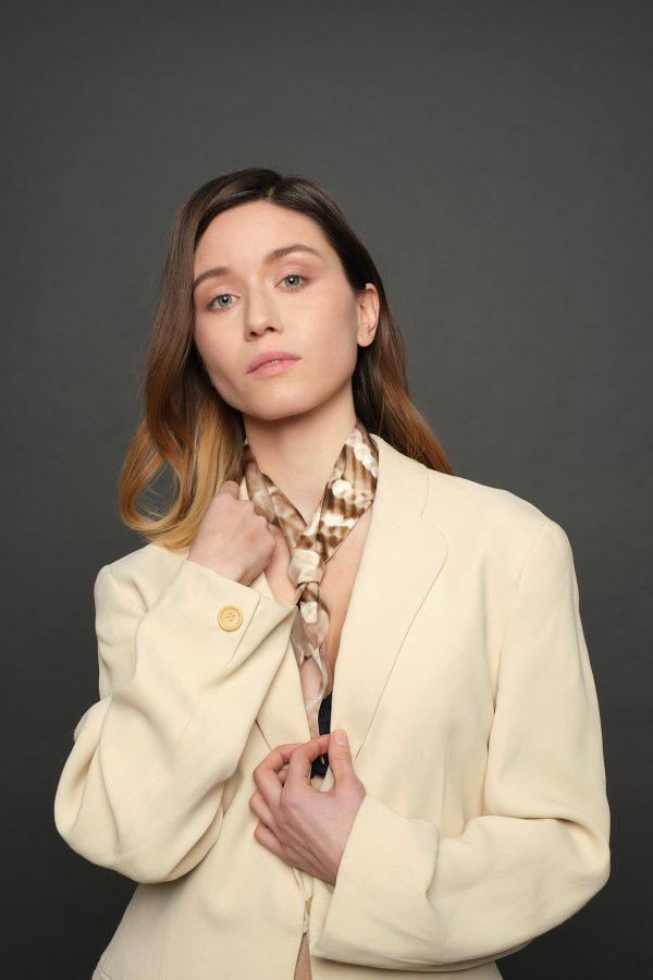 Luxury gold silk scarf